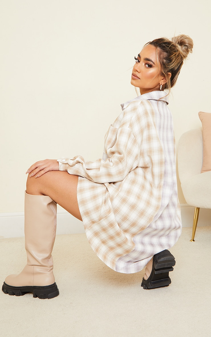 Petite Stone & lilac Mixed Checked Shirt Dress 2