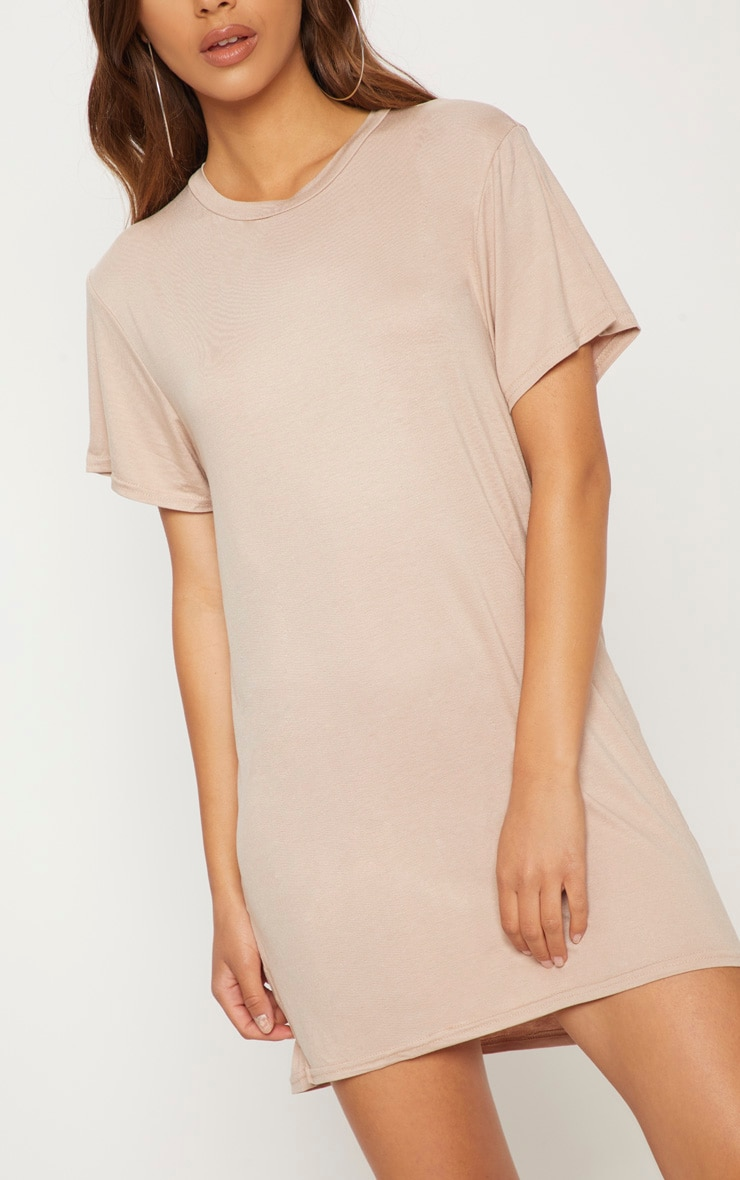 Basic Nude Short Sleeve T Shirt Dress 5