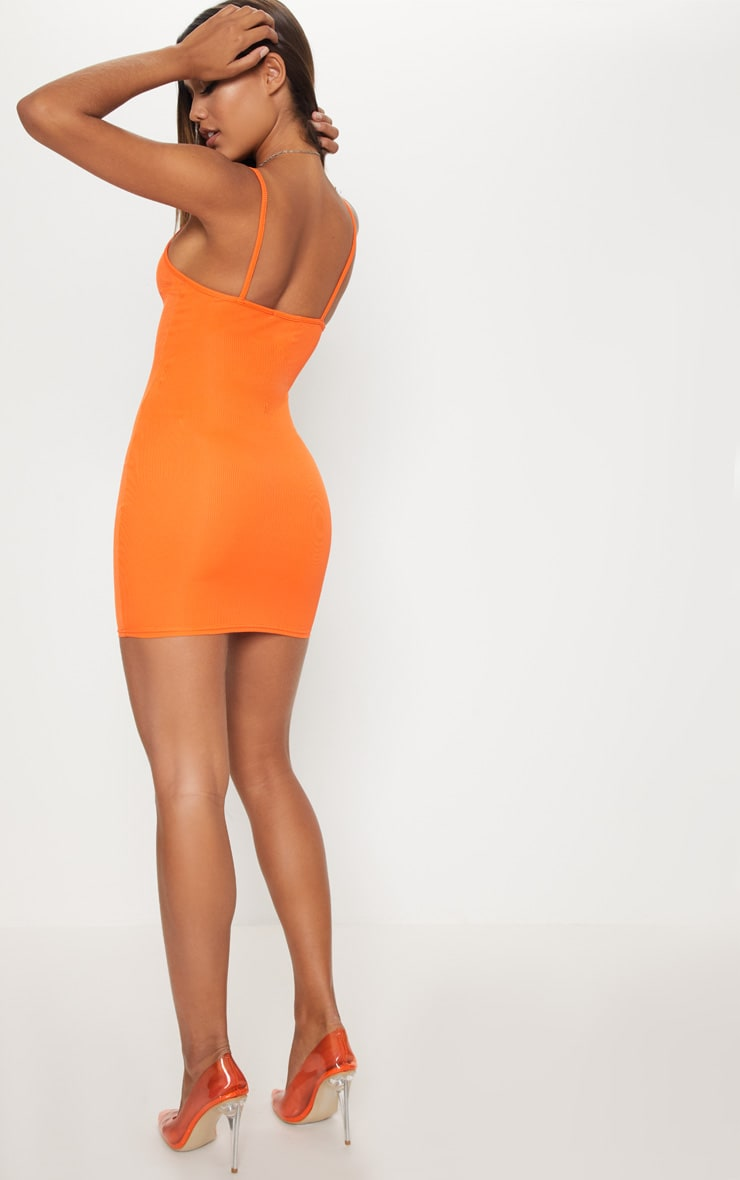 Bright Orange Button Detail Ribbed Bodycon Dress 2