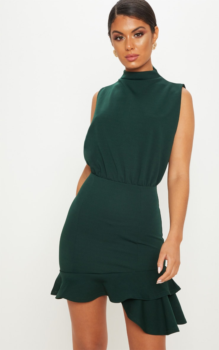 Outlet stores frill hem dress green bodycon bandhej emerald diagram like