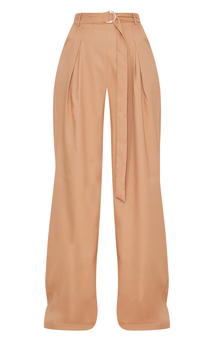 Camel Wide Leg Tie Waist Trousers 3