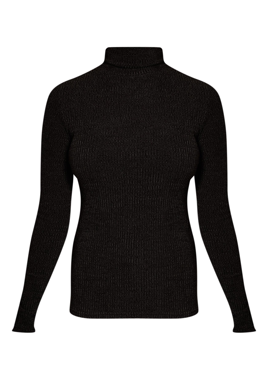 Delty top à col roulé côtelé tricoté noir 3