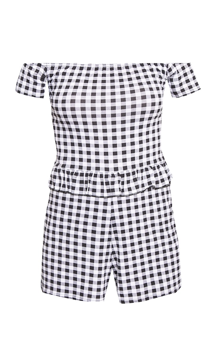 Black Gingham Frill Middle Playsuit  3