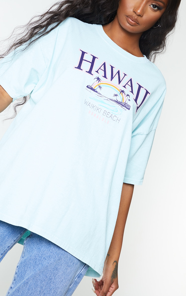 Mint Hawaii Beach Print Washed T Shirt 4