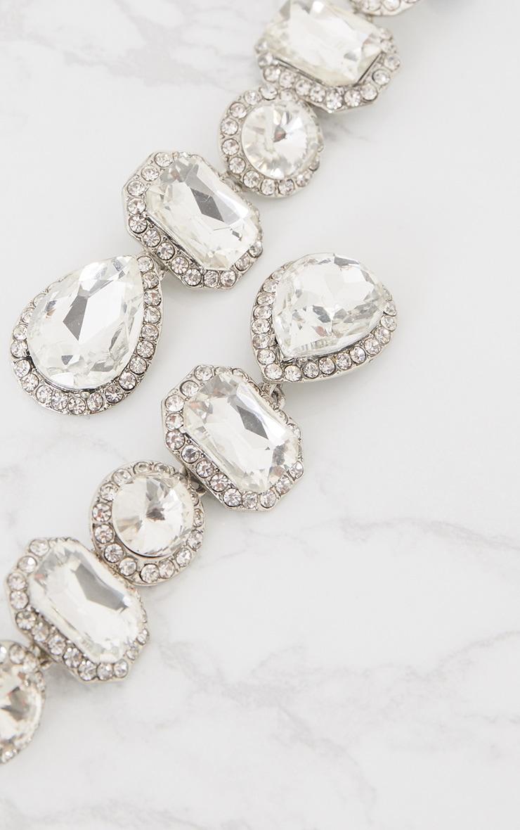 Silver Chunky Diamante Line Drop Earrings 4