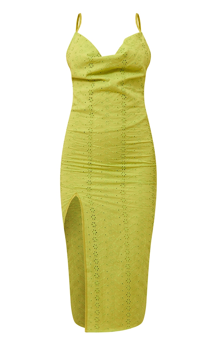 Chartreuse Broderie Anglaise Cowl Neck Strappy Midi Dress 5