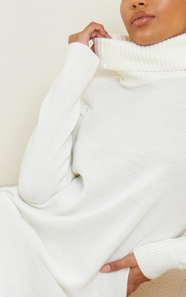Cream Roll Neck Shoulder Pad Knitted Midi Jumper Dress 4