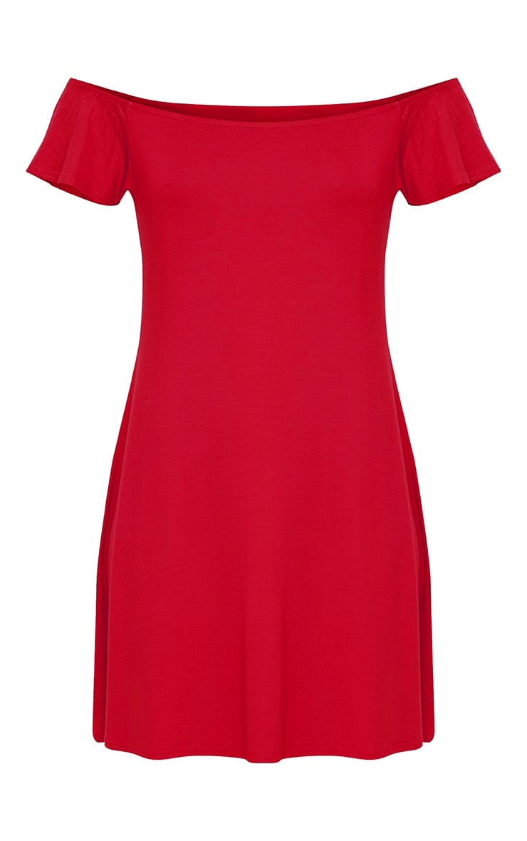 Manina Red Jersey Bardot Swing Dress 3