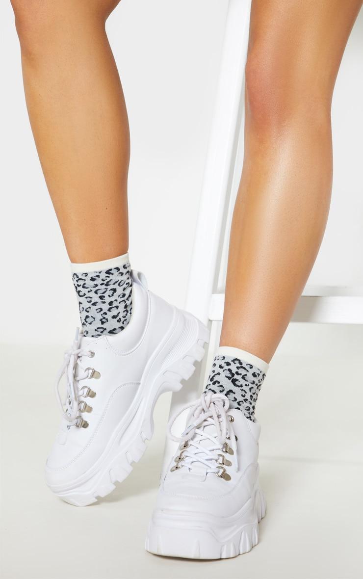 Grey Leopard Print Socks 2