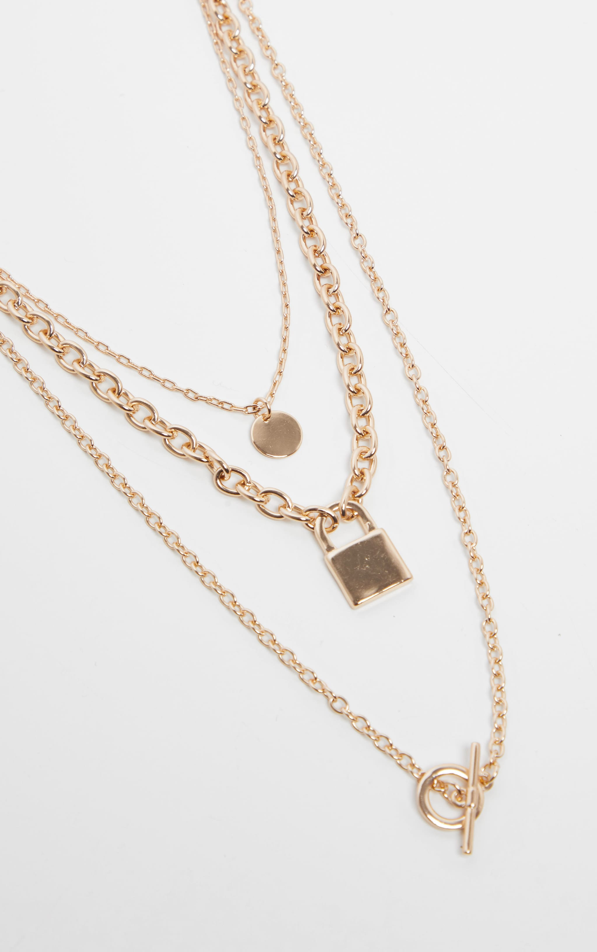 Gold T Bar And Padlock Triple Layering Necklace 3