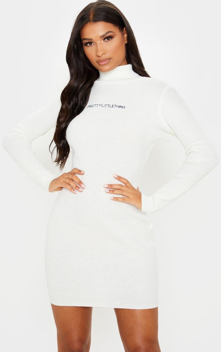 PRETTYLITTLETHING Cream Rib Knitted Bodycon Dress 6