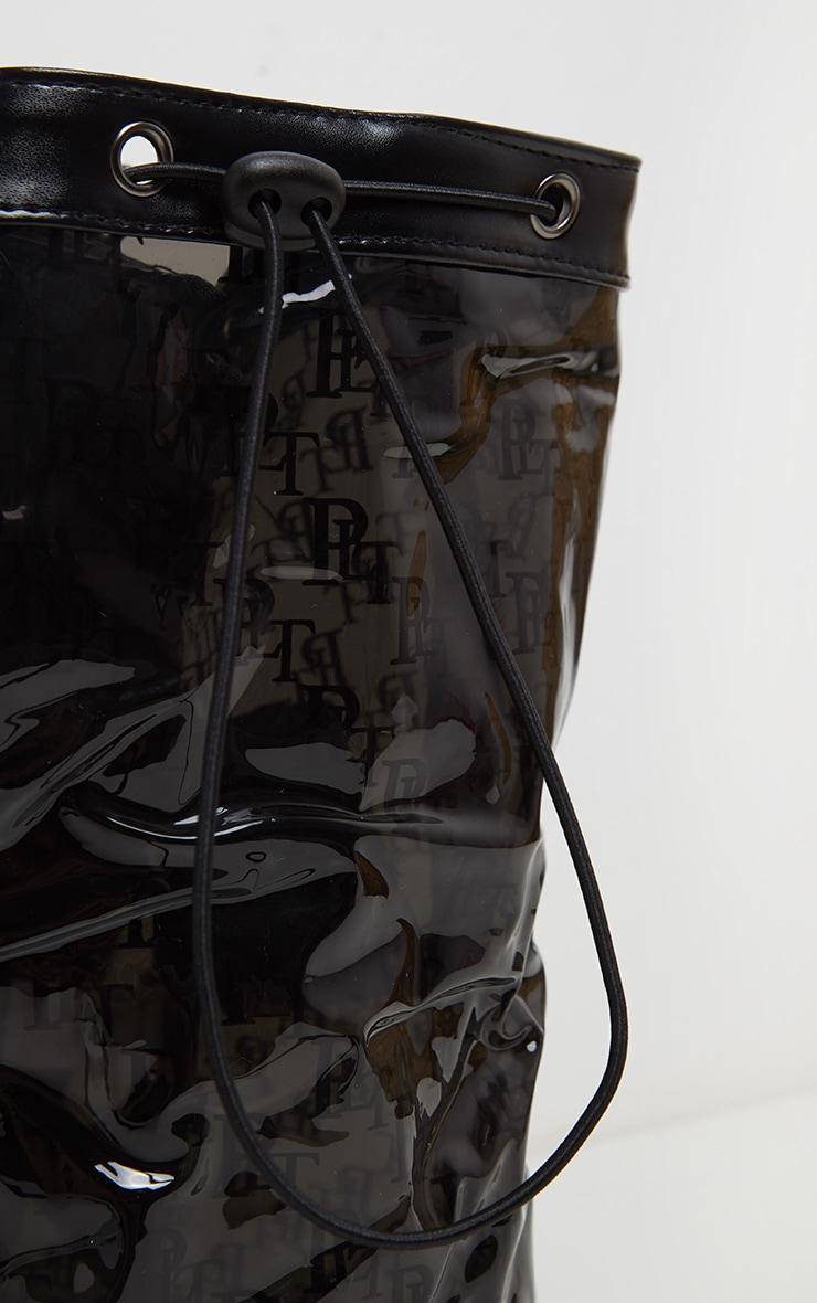 PRETTYLITTLETHING Logo Black Soft Plastic Large Drawstring Backpack 2