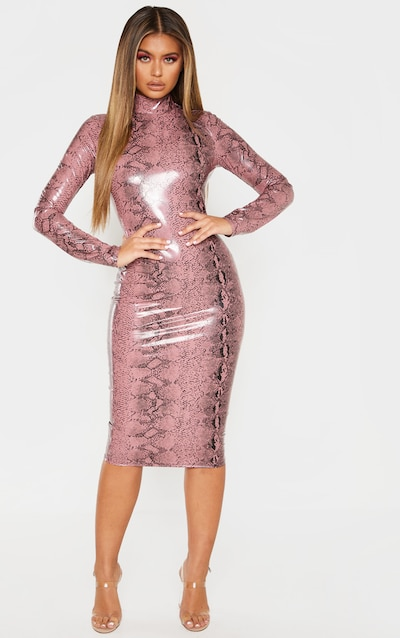 dc487a6ee230 Rose Snake Print PU Long Sleeve Midi Dress