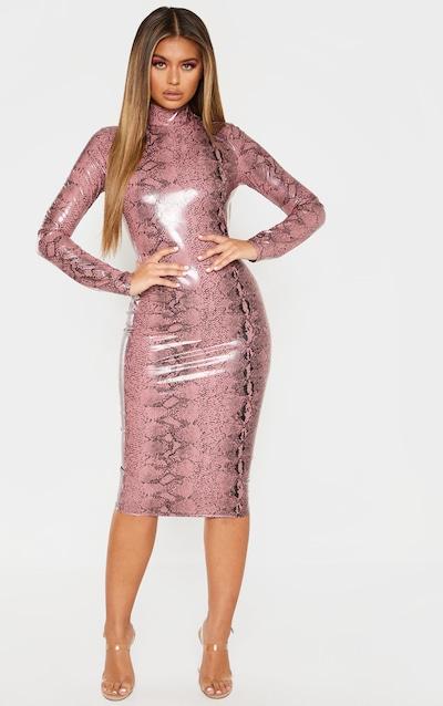 10b0f9c4a6db Rose Snake Print PU Long Sleeve Midi Dress
