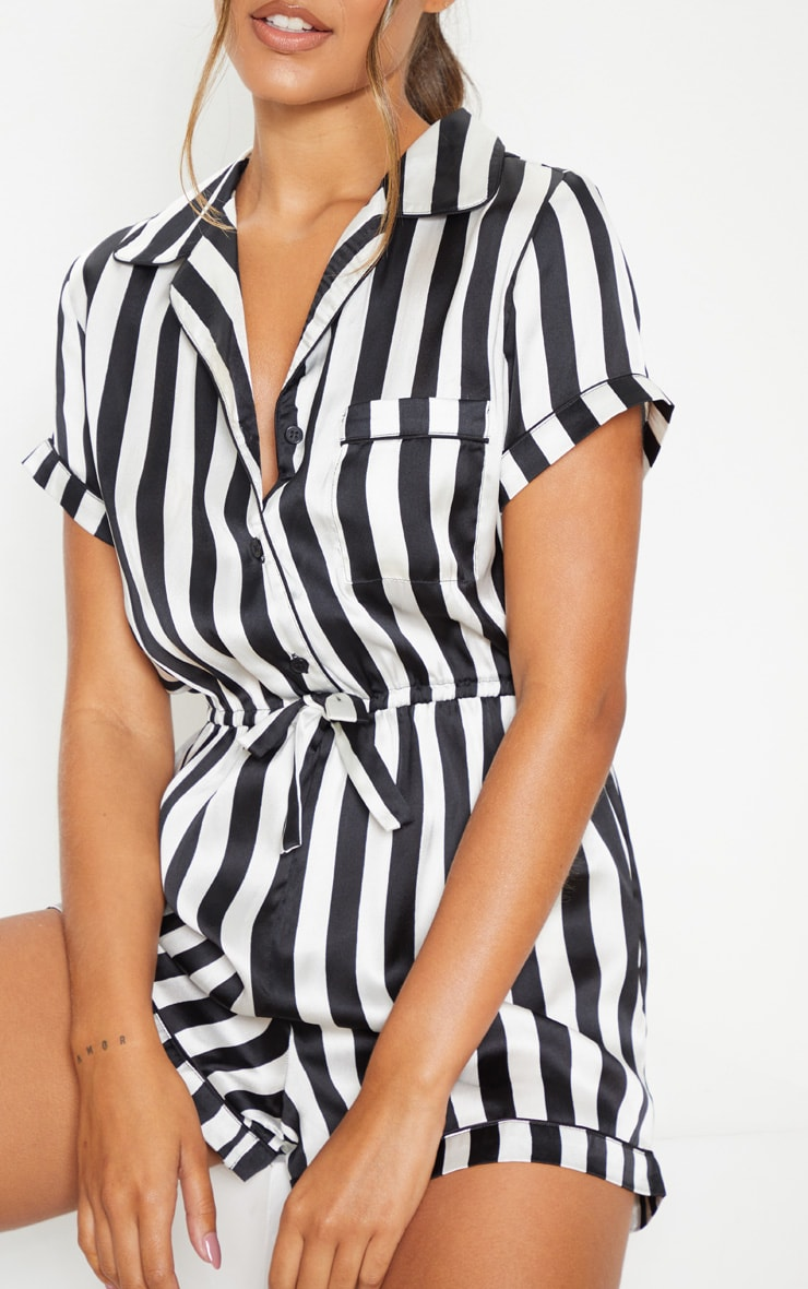 Black And White Button Front Satin Romper 5