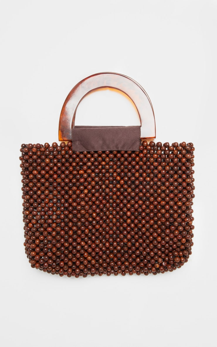Brown Beaded Mini Bag With Tortoiseshell Handle Mini Bag 1