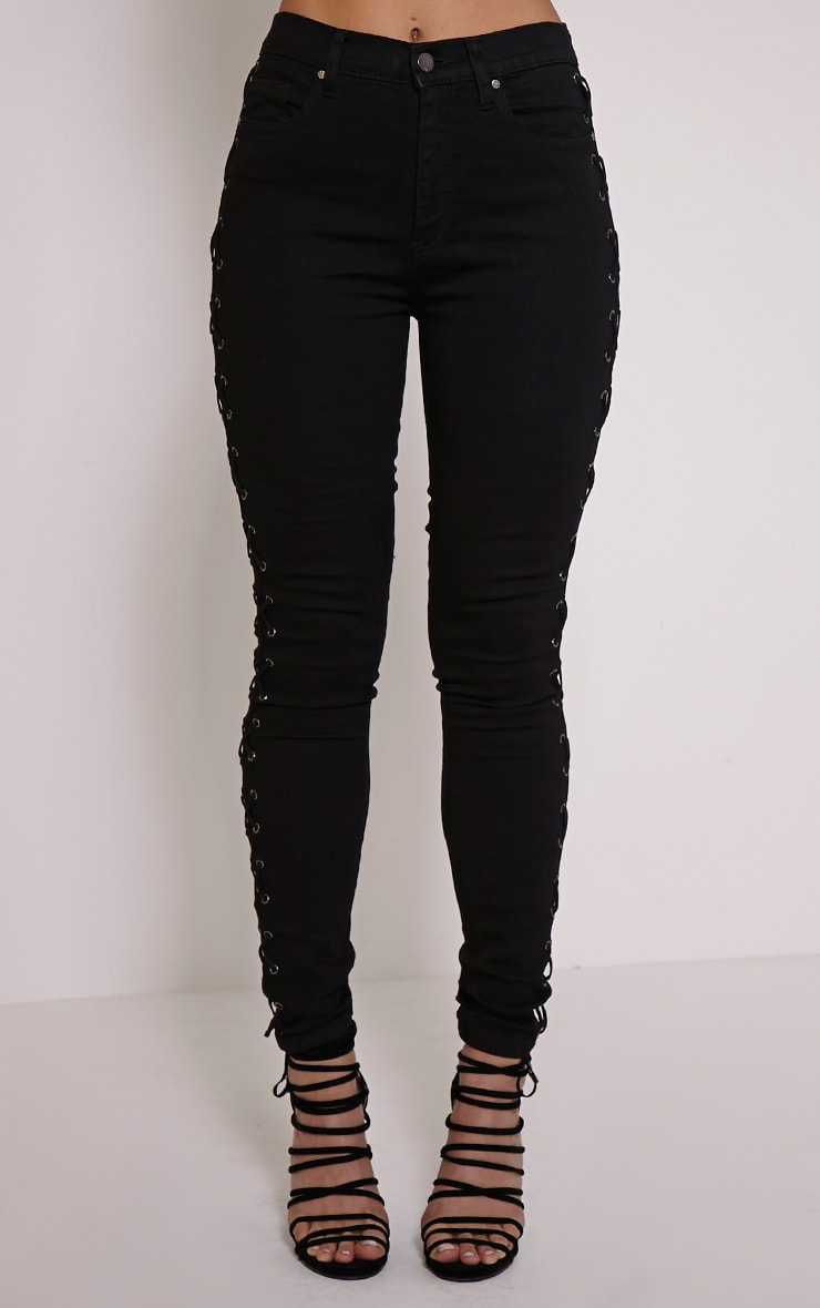Alida Black Lace Up Side Jean 2