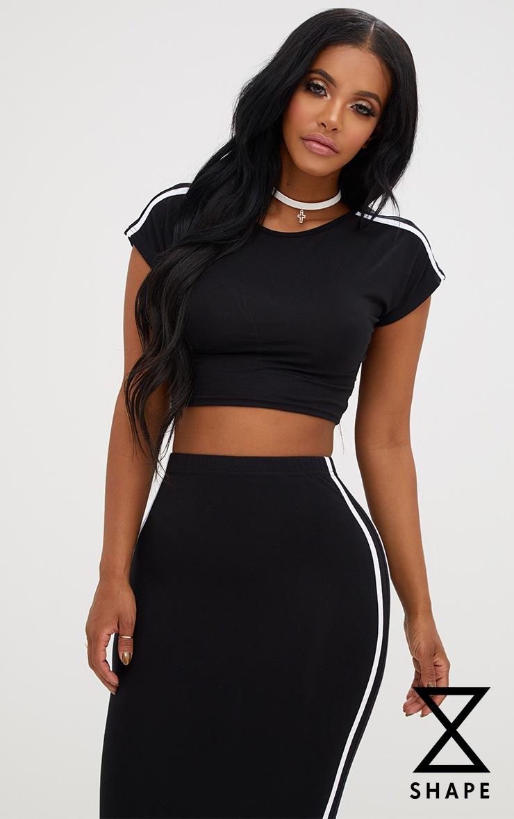Shape Black Stripe Shoulder Crop Top 1