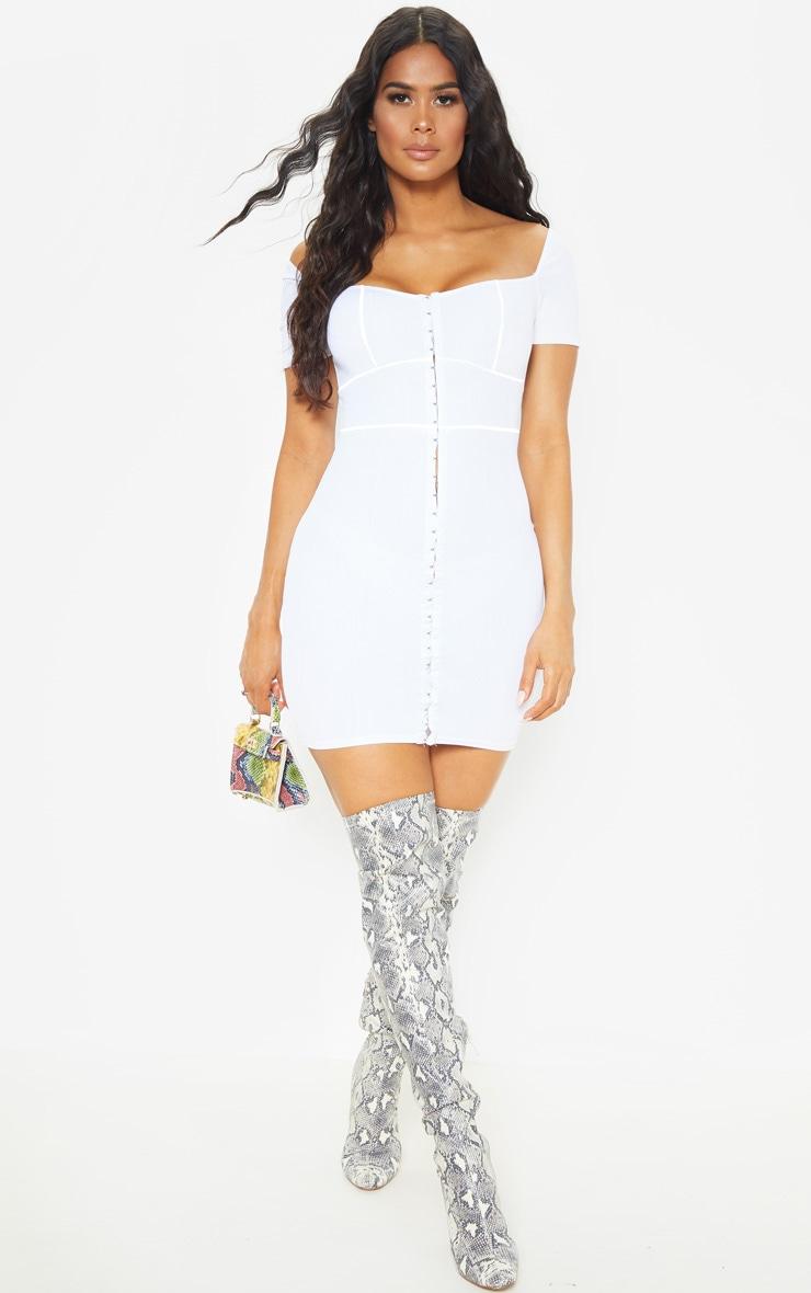 White Bandage Hook & Eye Short Sleeve Bodycon Dress 4