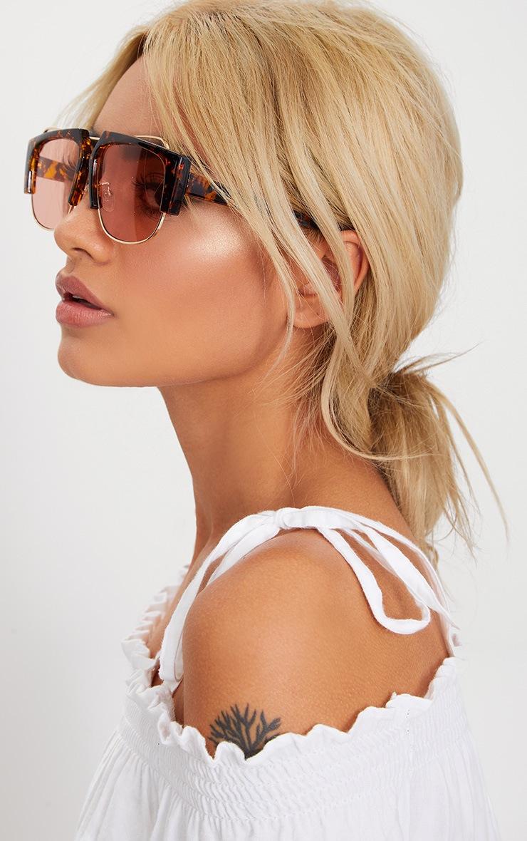 Tortoise Shell Slanted Sunglasses 2