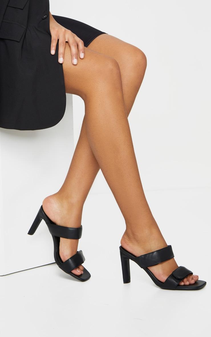 Mules noires carrées à doubles brides Velcro et talon moyen 1