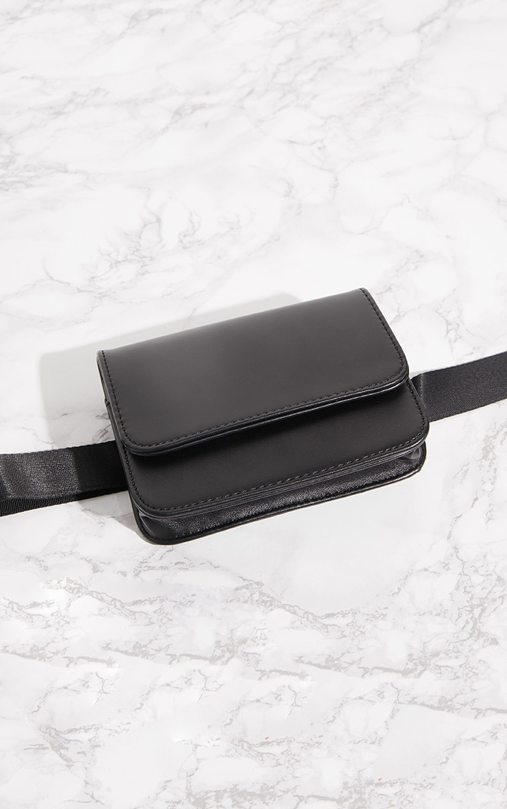 Black PU Rectangle Bum Bag 4