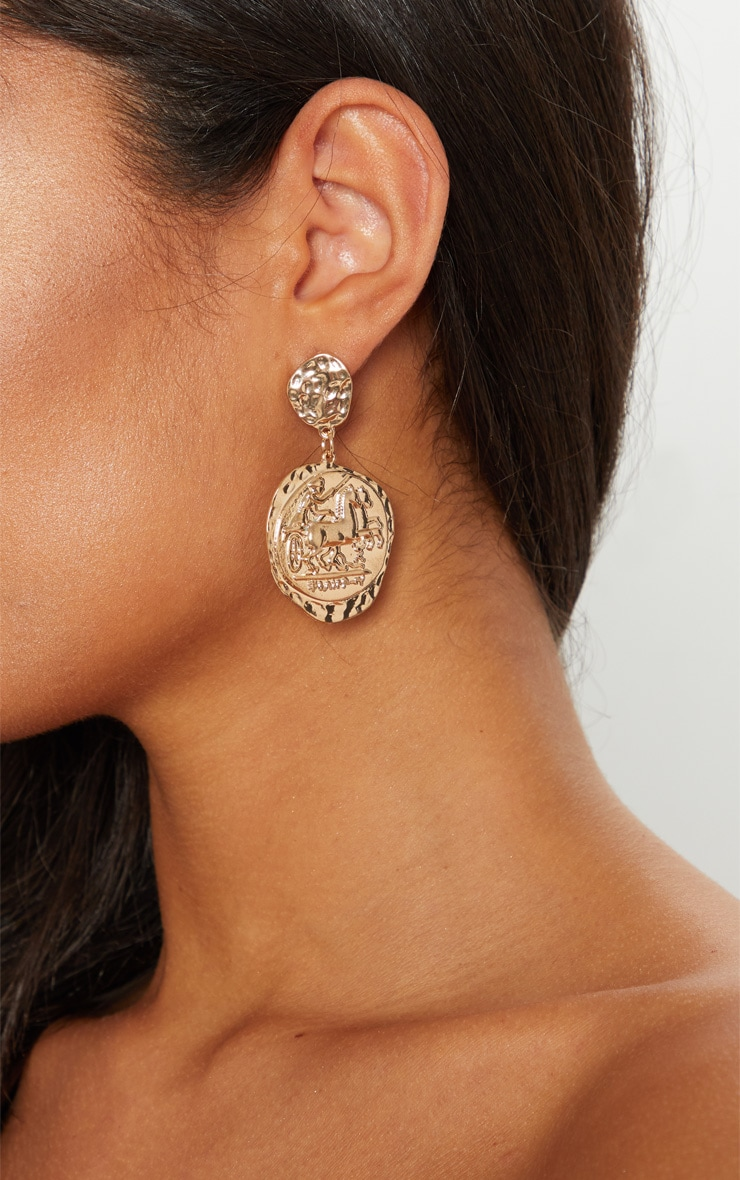 Gold Egyptian Hammered Coin Earrings