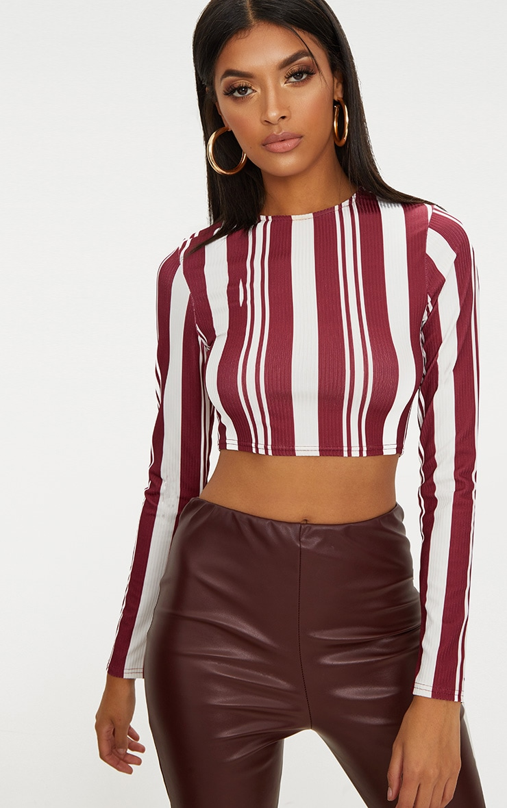 Burgundy Rib Stripe Long Sleeve Crop Top 1