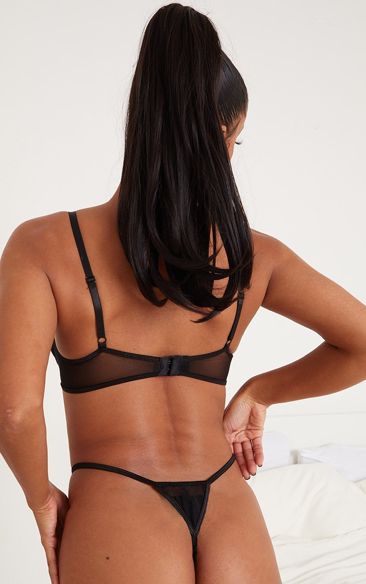 PRETTYLITTLETHING X CoppaFeel! Black Strappy Detail Mesh Thong 2
