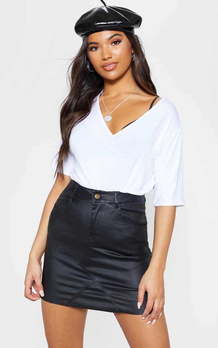 Eviane Black Coated Denim Skirt 1