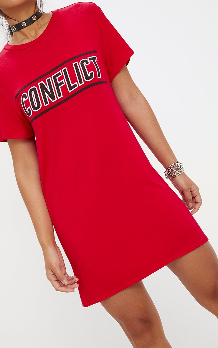 Red Conflict T Shirt Dress 5