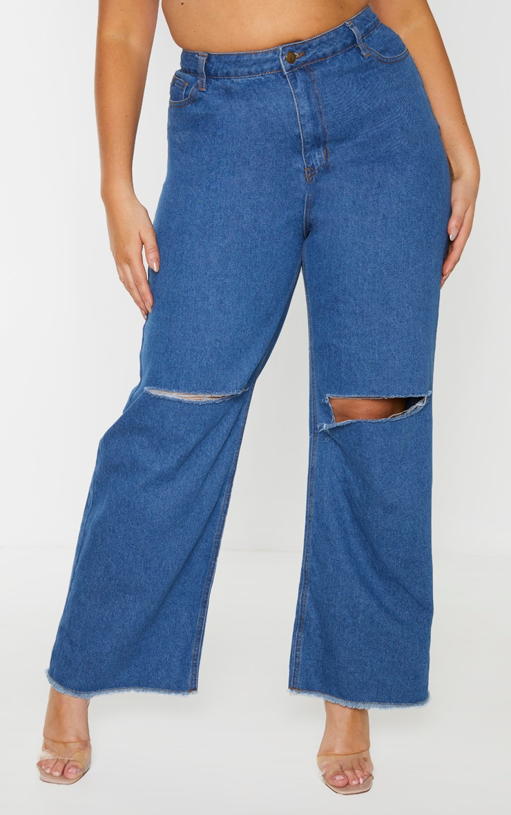 Plus Mid Wash Wide Leg Knee Rip Jean 4