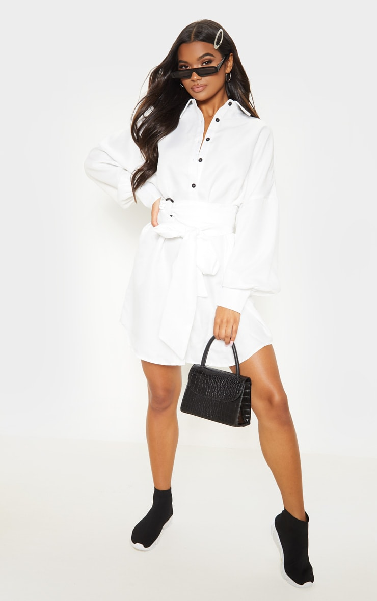 White Belted Tie Shirt Dress 4