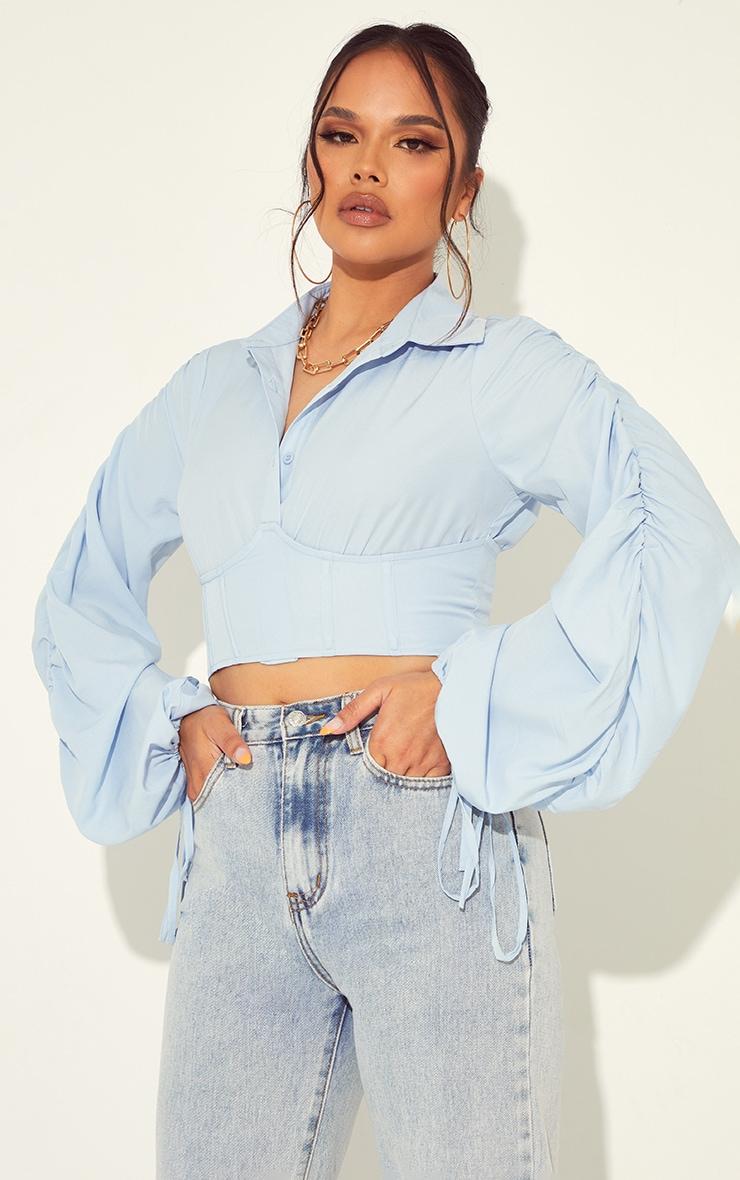 Light Blue Woven Corset Detail Shirt 1