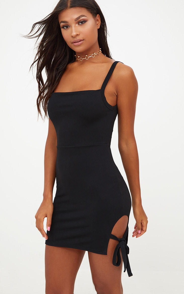 Black Thigh Tie Detail Bodycon Dress 1