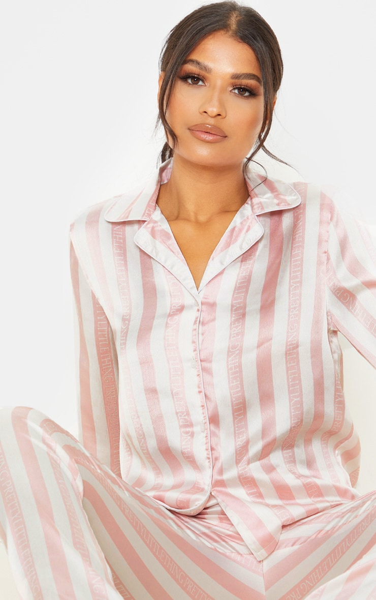 PRETTYLITTLETHING Baby Pink Long Striped Satin PJ Set 5