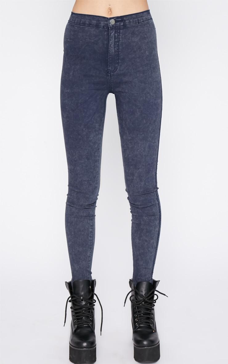 Dark Acid Wash High Waist Jeans 2