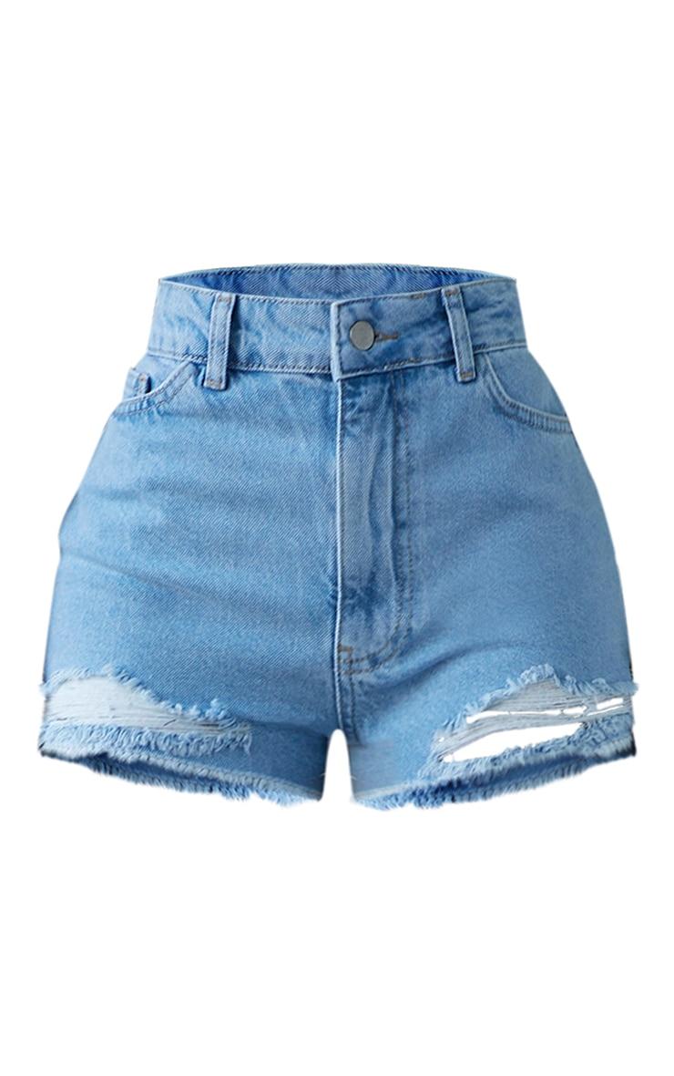 PRETTYLITTLETHING Shape Bleach Wash Distressed Hem Denim Shorts 6