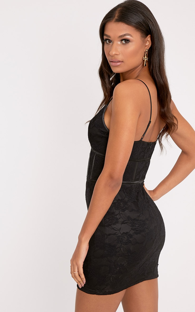 Sasha Black Corset Detail Strappy Lace Bodycon Dress 2
