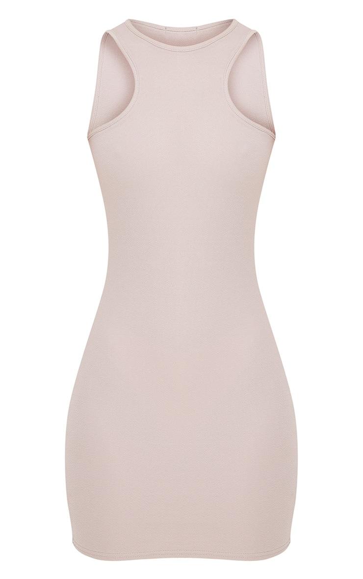 Ivankah Dove Grey Racer Neck Bodycon Dress  3