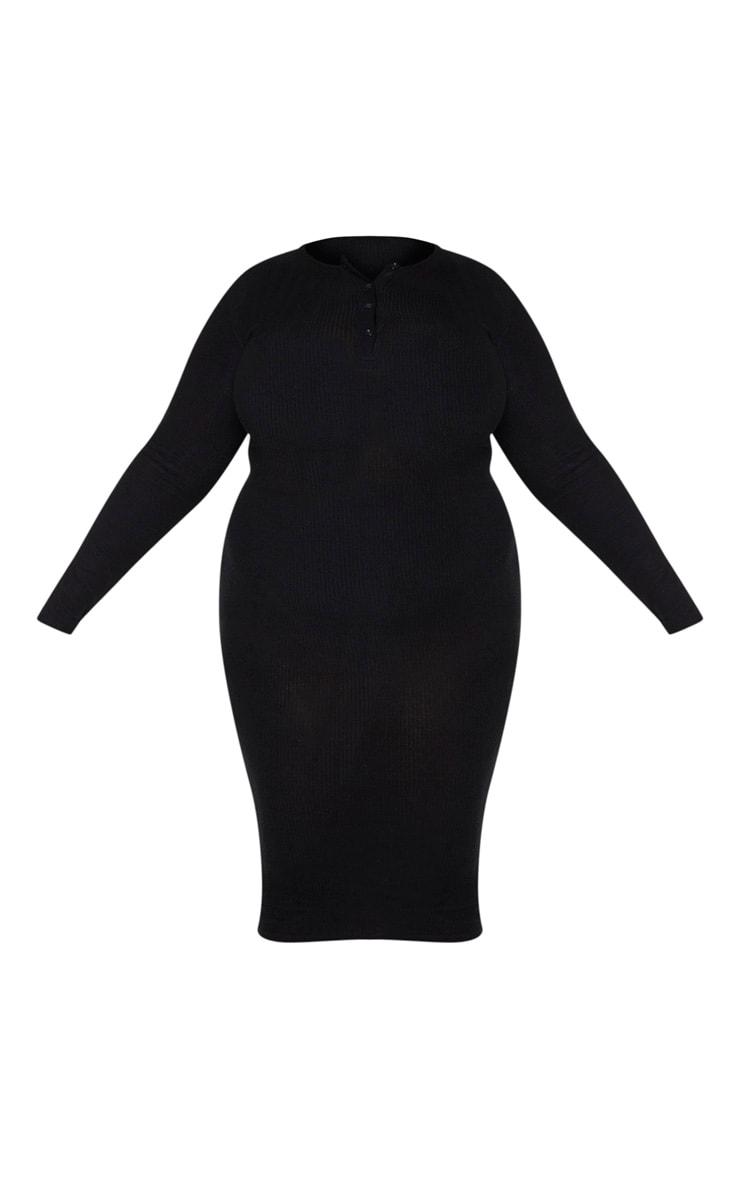 PLT Plus - Robe mi-longue noire boutonnée en maille douce côtelée 5