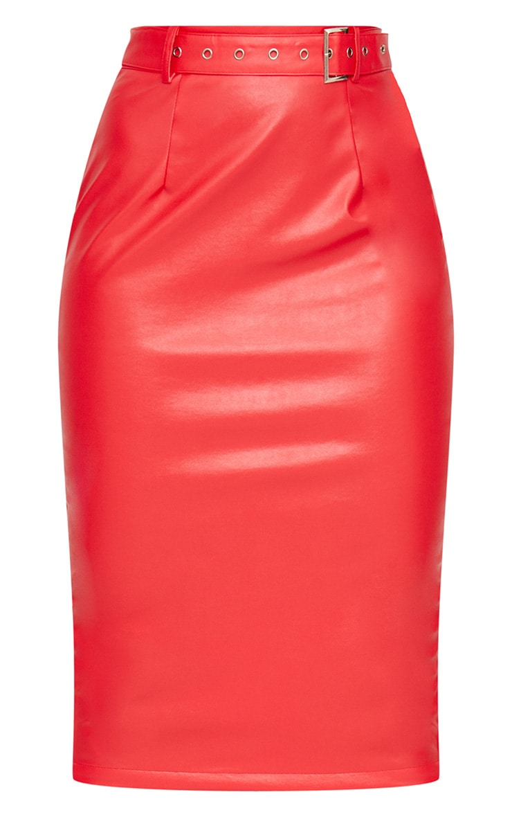 Red Faux Leather Belt Midi Skirt 3