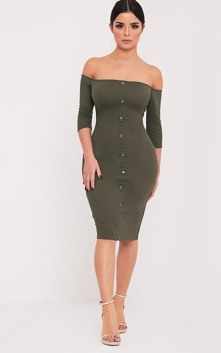 Shape Laurenna Khaki Bardot Button Midi Dress  5