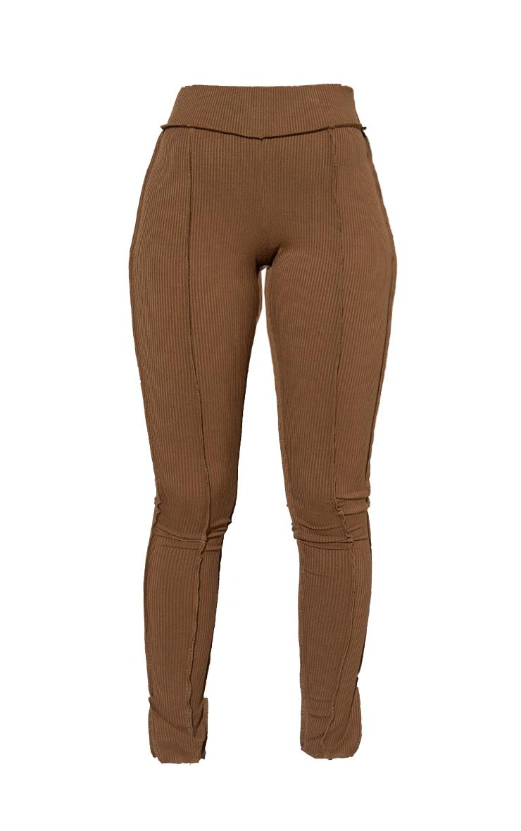 RENEW Chocolate Brown Split Hem Seam Detail Leggings 5
