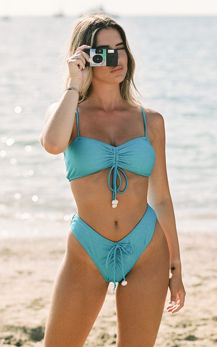 Bright Blue Ruched Front Shell Trim Bikini Bottoms 1