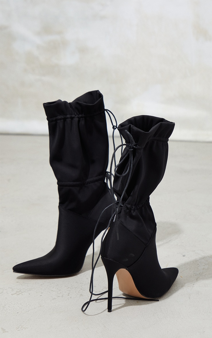 Black Lycra Pointed Tie Detail Sock Boots 3