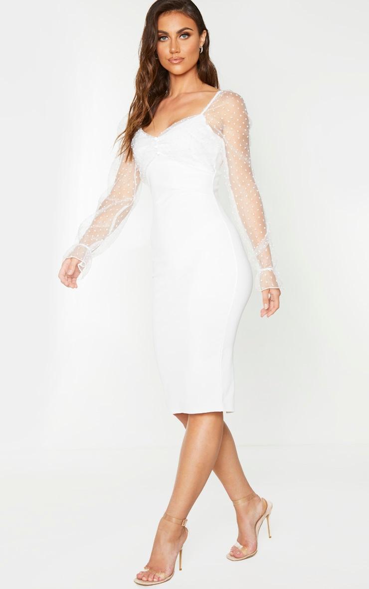 White Dobby Mesh Puff Sleeve Midi Dress 3