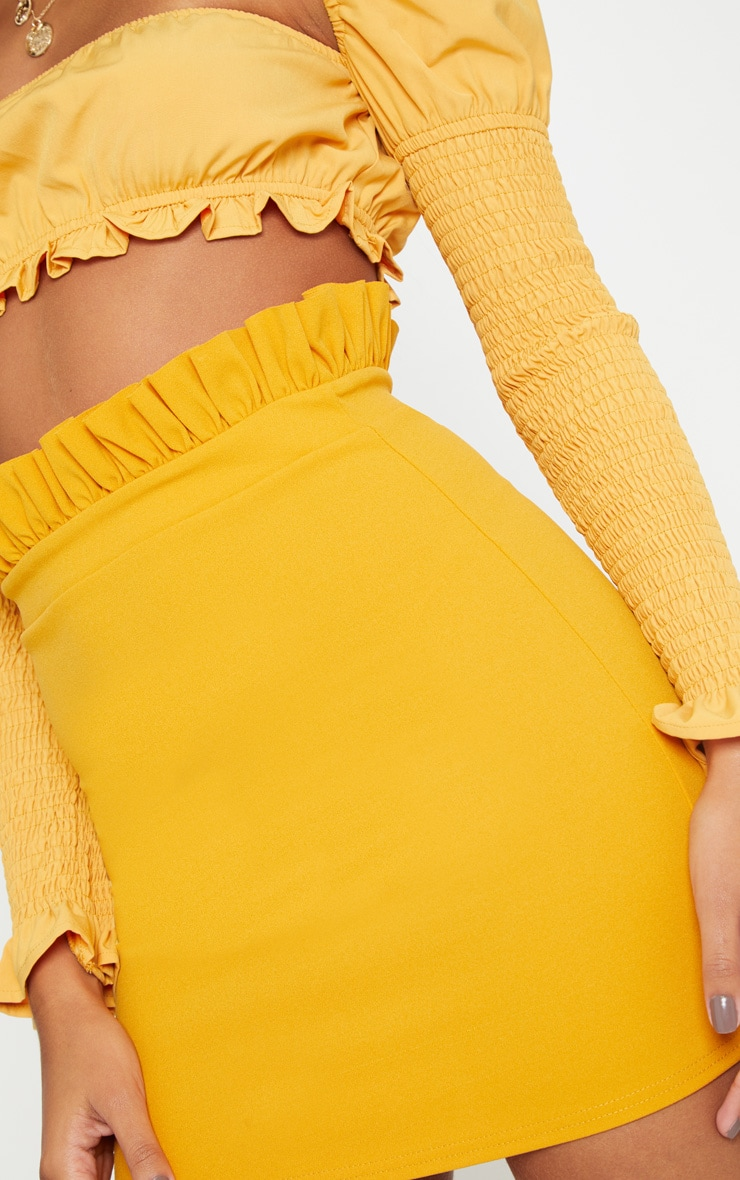 Mustard Gathered Waist Detail Mini Skirt  6