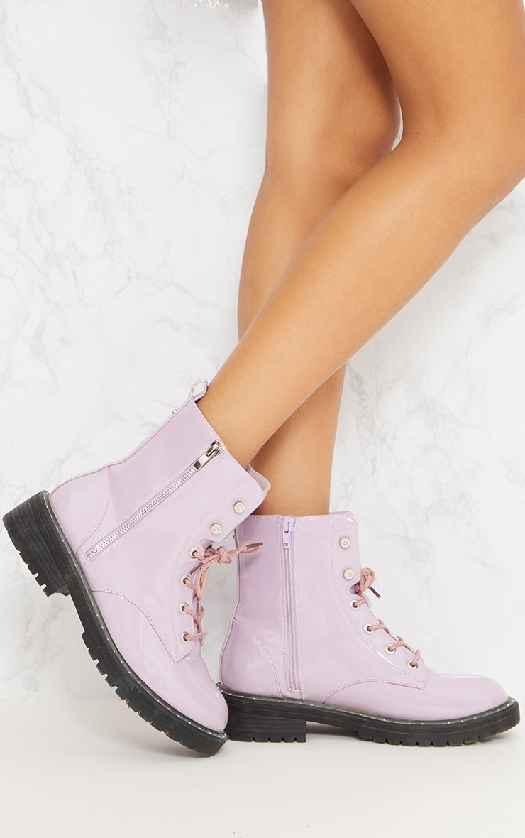 Lilac Chunky Lace Up Boot 2