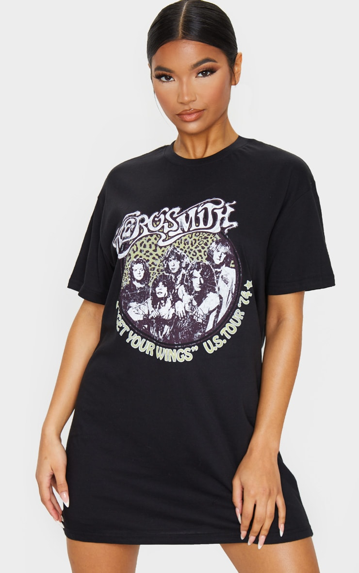 Black Aerosmith Slogan T Shirt Dress 3